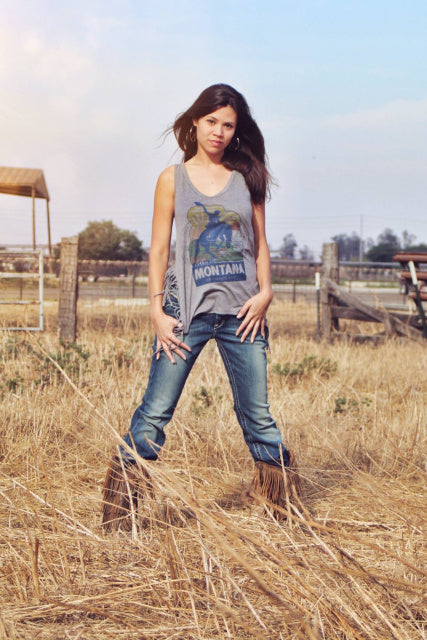 Original Cowgirl Clothing Tank Top Montana Wild West Fringe Jr. Sizes
