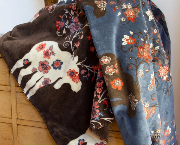 Denali Blankets Moose Blossom Blue and Brown