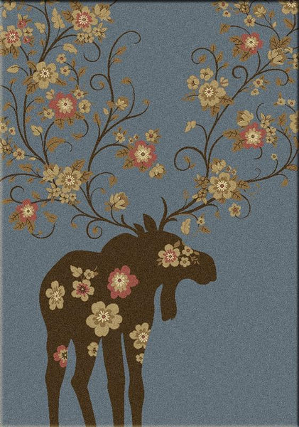American Dakota Moose Blossom Rug Blue