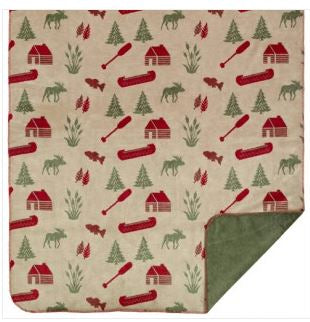 Denali Blankets Moose Camp Throw Blanket Front Red Sage