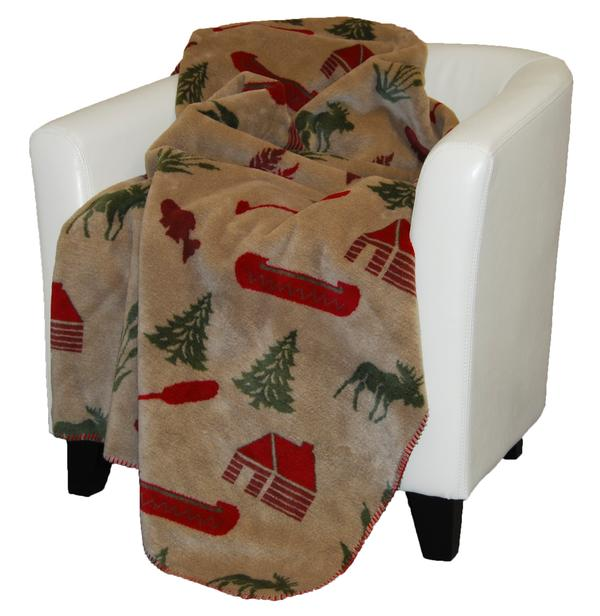 Denali Blankets Moose Camp Throw Blanket Red Sage Chair