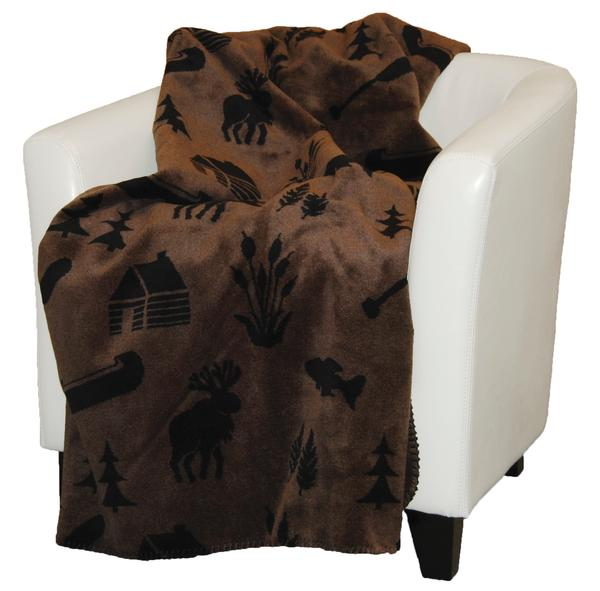 Denali Blankets Moose Camp Throw Blanket Taupe Chair