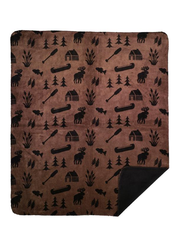 Denali Blankets Moose Camp Throw Blanket Taupe