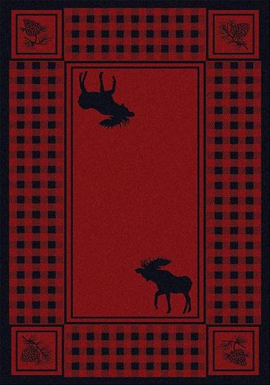 American Dakota Moose Refuge Area Rug Red