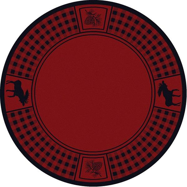 American Dakota Moose Refuge Area Rug Red Round