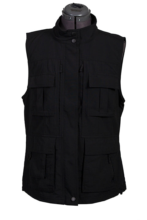 Farthest Point Collection Multi Pocket Ladies' Vest Black Front #6262