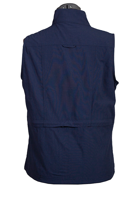 Farthest Point Collection Multi Pocket Ladies' Vest Indigo Back #6262
