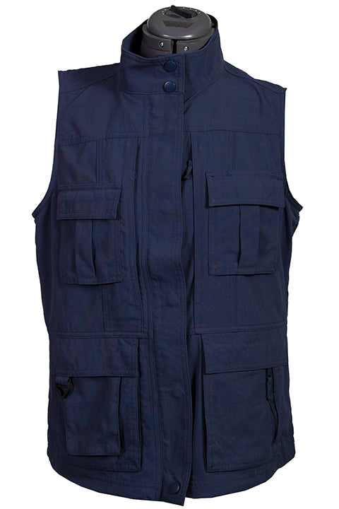 Farthest Point Collection Multi Pocket Ladies' Vest Indigo Front #6262