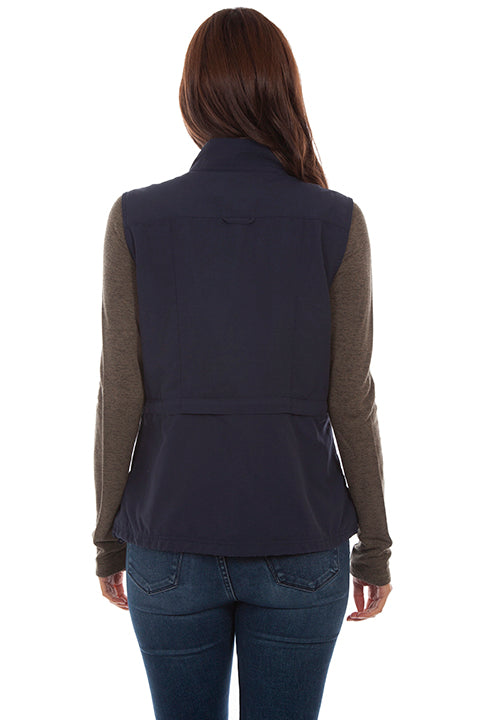 Farthest Point Collection Multi Pocket Ladies' Vest Midnight Sky Back #6262