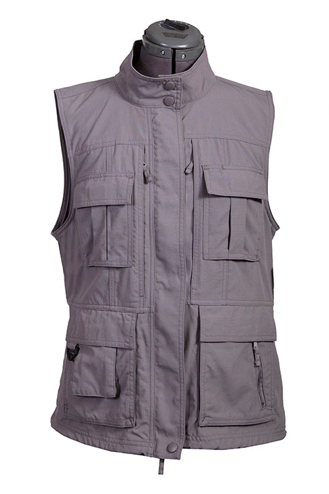 Farthest Point Collection Multi Pocket Ladies' Vest Silver Front #6262
