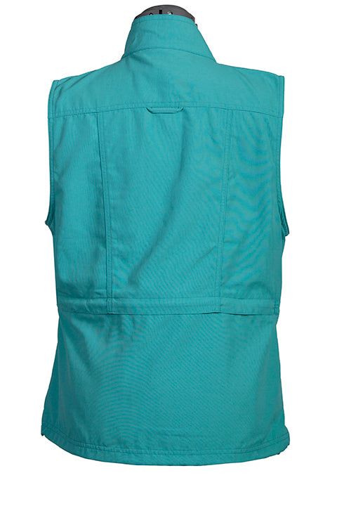 Farthest Point Collection Multi Pocket Ladies' Vest Teal Back #6262