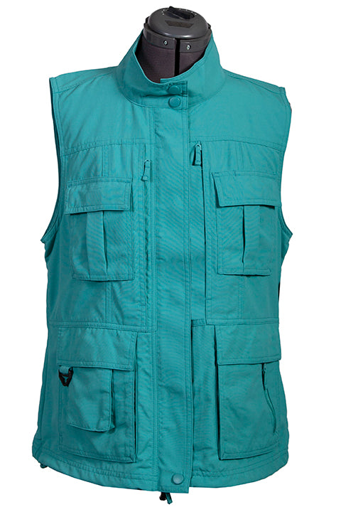 Farthest Point Collection Multi Pocket Ladies' Vest Teal Front #6262