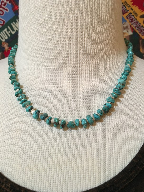 Two Grey Hills Native American Handcrafted Three Strand Set Turquoise and Heishi Beads