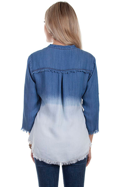 Scully Honey Creek Ladies' Dip Dye Top Blue White Front #719651