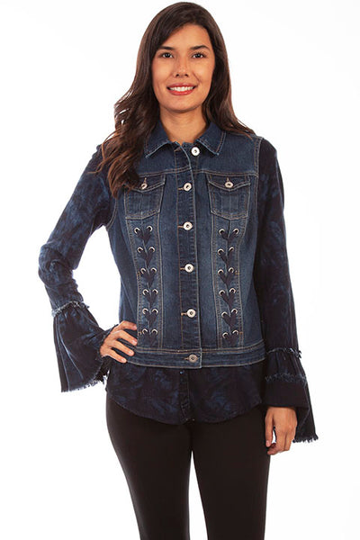 Scully Ladies' Honey Creek Denim Vest with Lace Up Panels Front