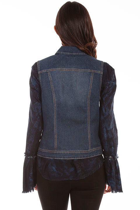 Scully Ladies' Honey Creek Denim Vest with Lace Up Panels Back
