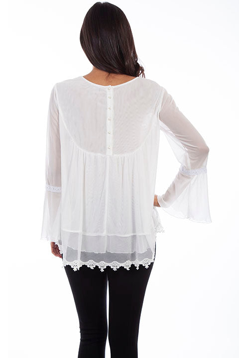 HC611 Scully Ladies' Honey Creek Tunic Lace Embroidery Back