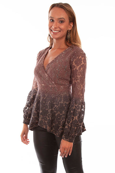 HC613 Scully Ladies' Honey Creek Lace Surplice Hi Lo Top Front