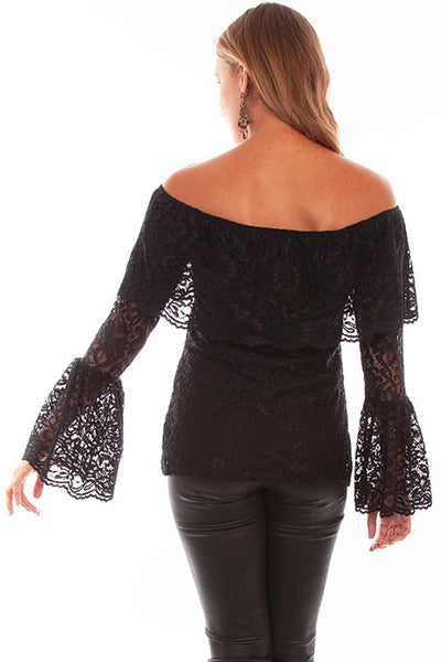HC614 Scully Ladies' Honey Creek Off Shoulder Black Top Front