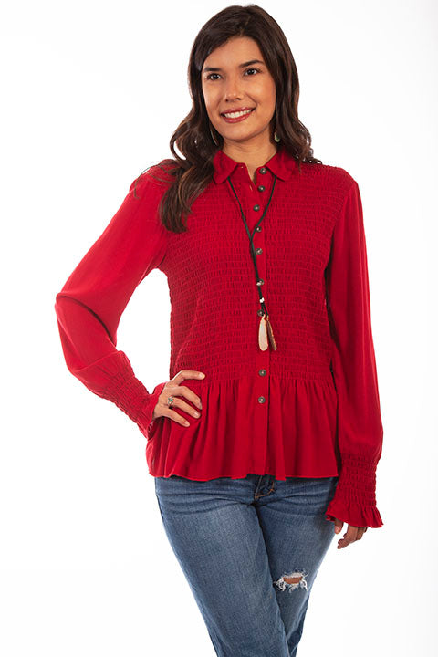 HC616 Scully Ladies' Honey Creek Peplum Top with Smocked Bodice Front