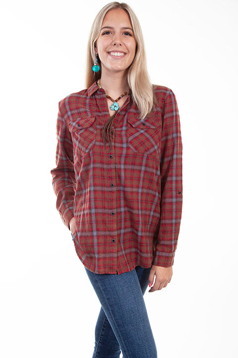 HC617 Scully Ladies' Honey Creek Plaid Top Front