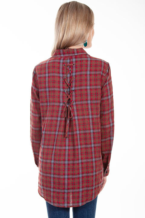 HC617 Scully Ladies' Honey Creek Plaid Top Back