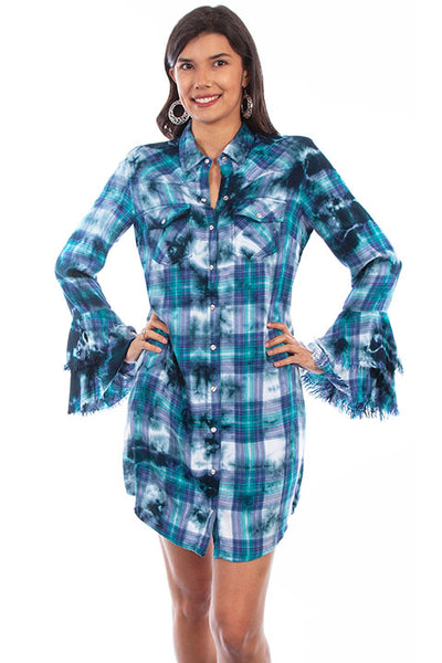 Scully Honey Creek HC618 Plaid Ruffle Dress
