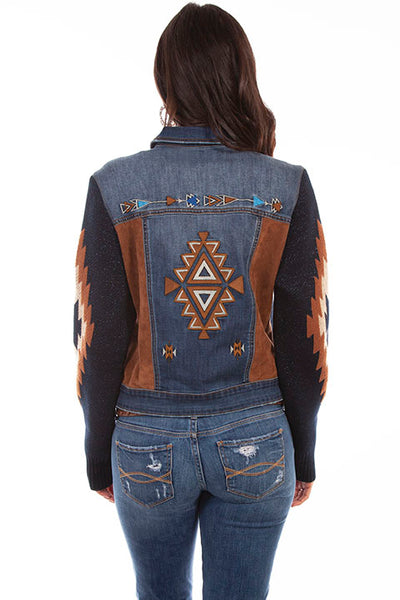 Honey Creek Denim Jacket Sweater Sleeves Embroidered Front