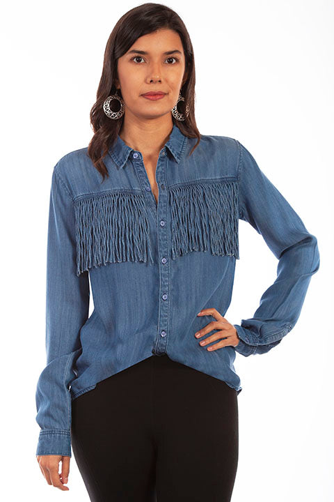 HC641 Scully Ladies' Honey Creek Fringe Denim Shirt Front