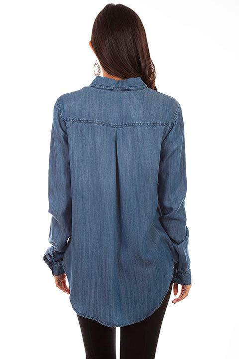 HC641 Scully Ladies' Honey Creek Fringe Denim Shirt Back