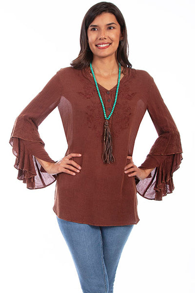HC646 Scully Ladies' Honey Creek Tunic with Ruffle Cuffs Front