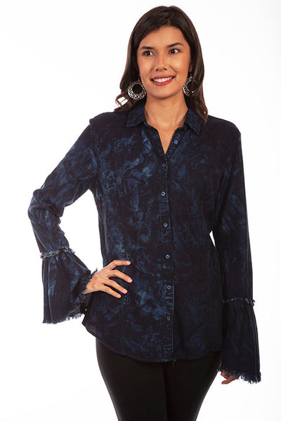 HC654 Scully Ladies' Honey Creek Two Tone Black Blue Blouse Front