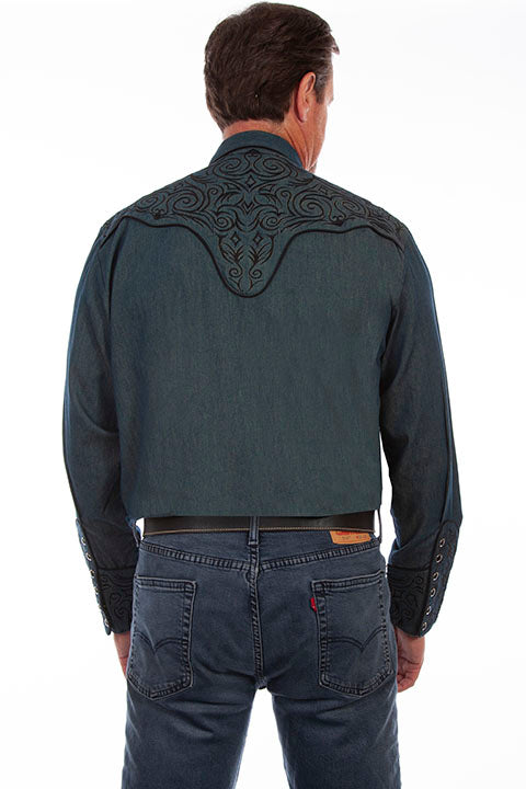 Scully Men's Vintage Inspired Western Shirt Scroll Embroidery Back #719815C