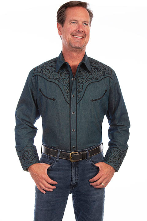 Scully Men's Vintage Inspired Western Shirt Scroll Embroidery Front #719815C