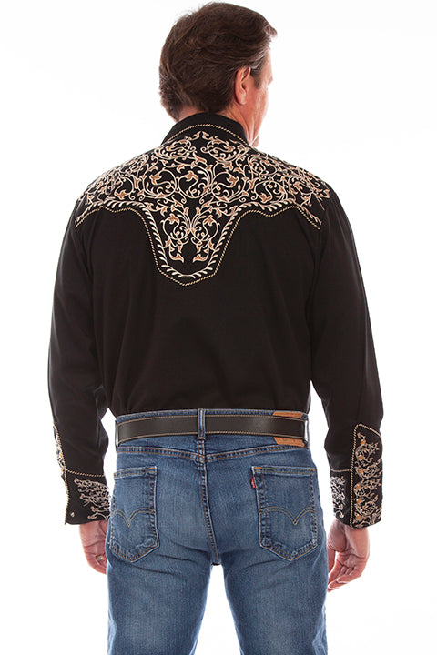 Scully Men's Vintage Inspired Embroidered Scrolls Back #719907