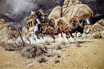 "Art Ceramic Tile ""On the Run"" by Western artist Frank McCarthy"
