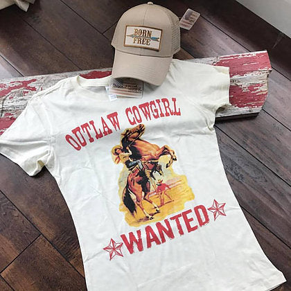 Original Cowgirl Clothing T-Shirt Outlaw Cowgirl Wanted Jr. Sizes