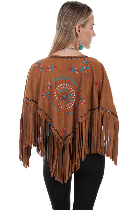 Scully Honey Creek Ladies Embroidered Faux Cape with Southwest Details Back