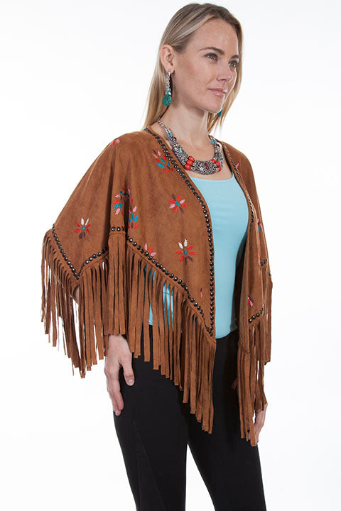 Scully Honey Creek Ladies Embroidered Faux Cape with Southwest Details Side