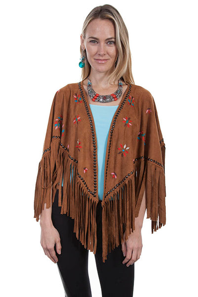 Scully Honey Creek Ladies Embroidered Faux Cape with Southwest Details Front