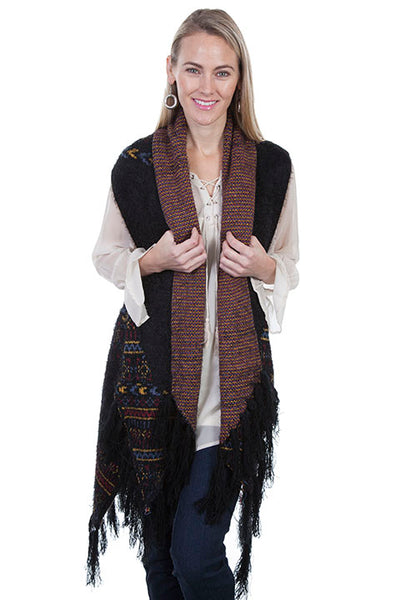 Scully Honey Creek Ladies Sweater Vest with Fringe Black