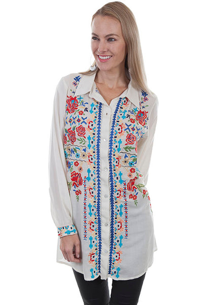 Scully Honey Creek Ladies Embroidered Button Front Blouse with Point Collar Front