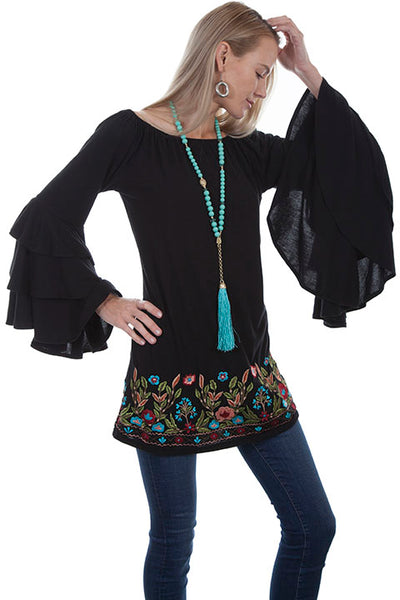 Scully Honey Creek Ladies' Embroidered Tunic with Ruffle Sleeves Front