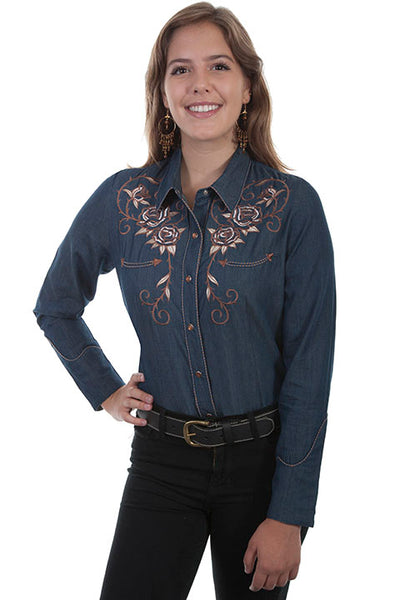Scully Ladies' Vintage Inspired Shirt with Roses and Longhorn Steer Skull Back