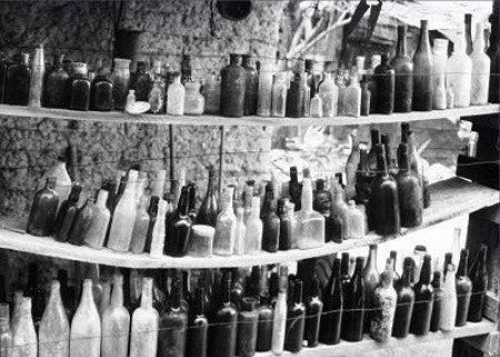 "Fine Art Print by In The Lens: ""Ghost Town Bottles"" Black & White"