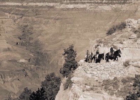 "Fine Art Print by In Lens: ""Returning From Phantom Ranch, Grand Canyon"" Sepia"