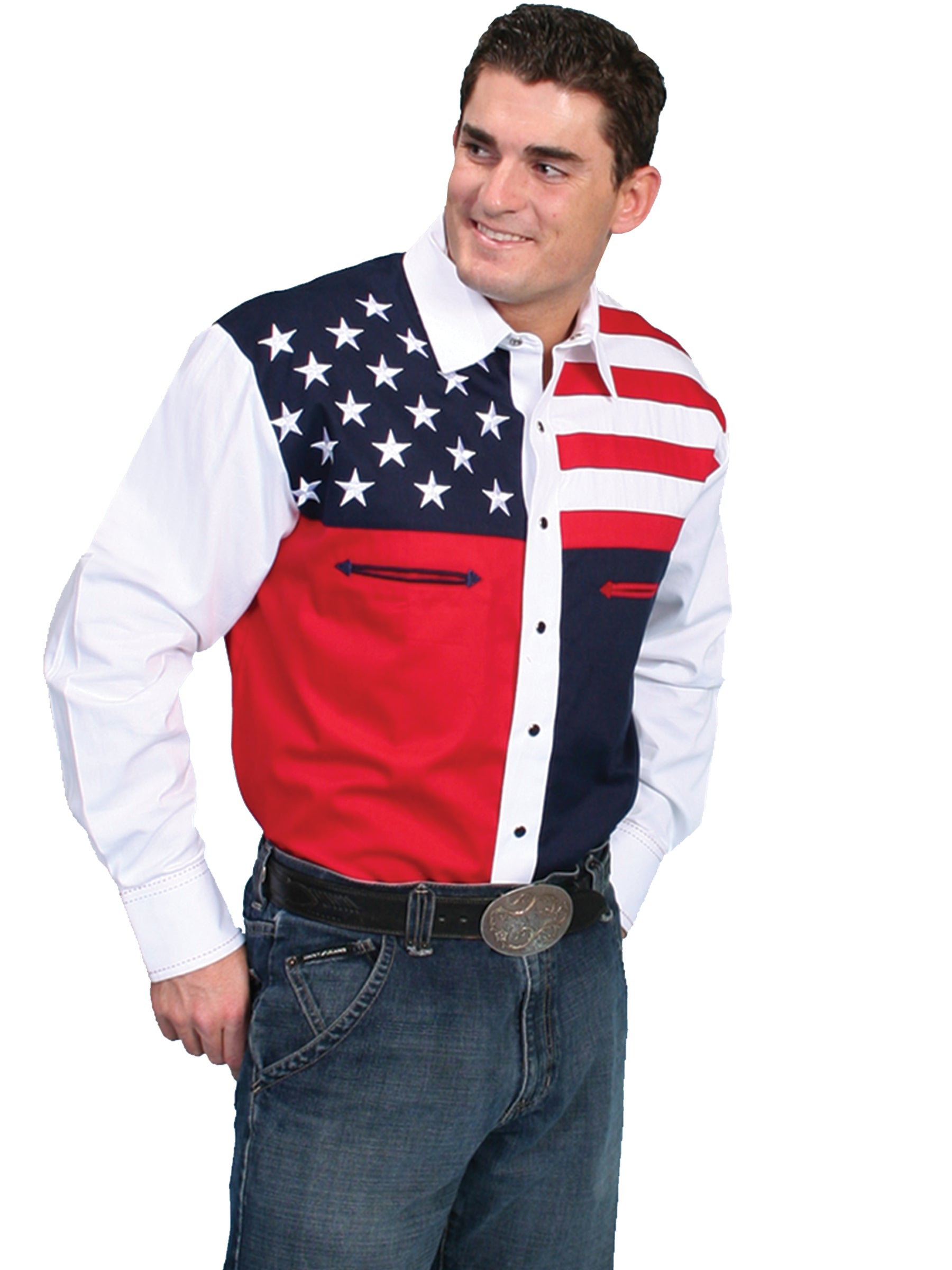 1b5640dce1 Embroidered Western Shirt Collection  Scully Men s Stars and Stripes ...