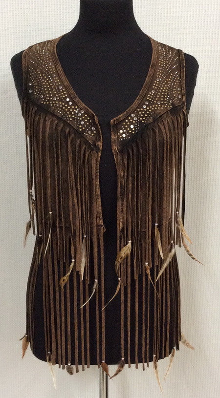 Designs By Pat Dahnke short vest with feathers and fringe