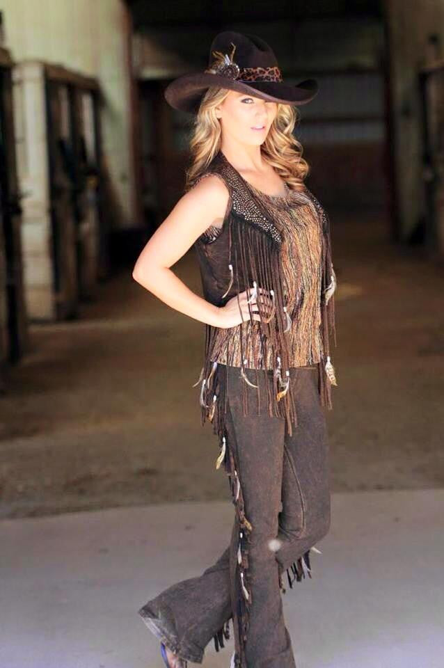 Designs By Pat Dahnke short vest with feathers and fringe, shown with matching pants