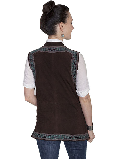 Scully Womens Suede Vest with Embroidery Chocolate Back View